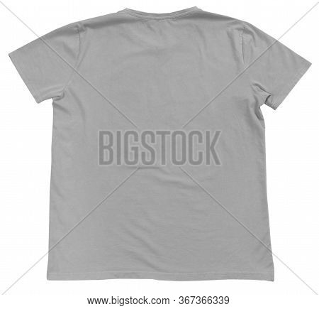 Gray T-shirt Mock Up, Gray Tshirt Template Ready For Your Own Graphics, T Shirt Template On White Ba