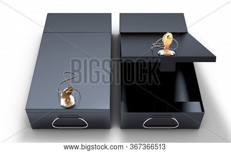An Open And Closed Black Bank Safe Deposit Box With A Key In The Locking Mechanism On An Isolated Wh