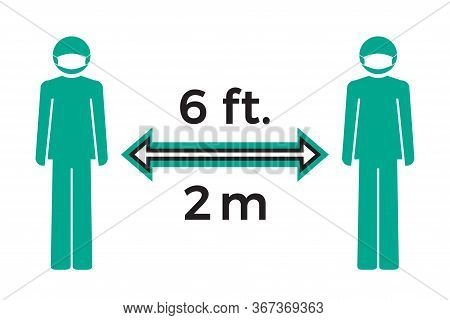 Flat Icon Social Distancing Concept. Stay Six Feet Or Two Meters Apart. Coronavirus Covid-19 Outbrea