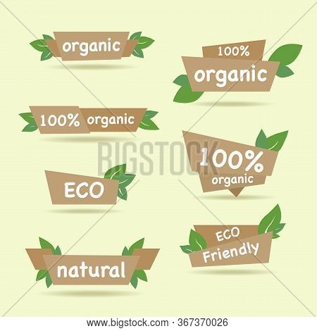 Set Of Green Labels And Badges With Leaves For Organic, Natural, Bio And Eco Friendly Products Isola