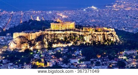 cityscape of Athens in early morning with the Acropolis seen from Lycabettus Hill, the highest point in the city