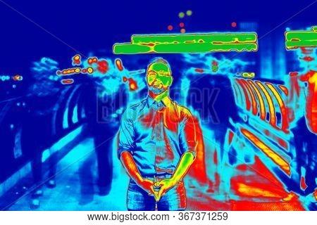 thermal camera photo detecting temperature covid prevention