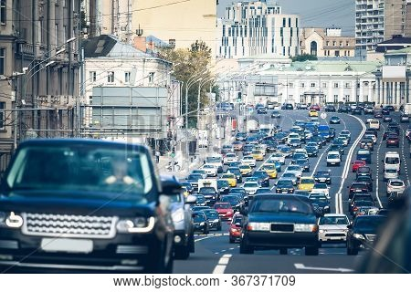 Traffic Congestion On The Garden Ring, Moscow