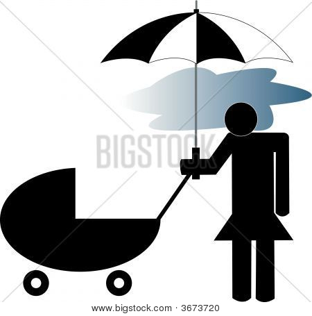 Stick Woman With Stroller And Storm Cloud.