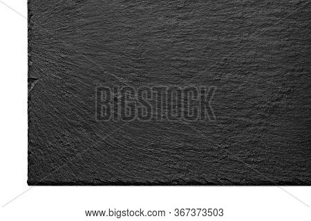 Black Slate Plate. Black Stone Slate Board. Empty Slate Surface Isolated On White. Texture Of The St