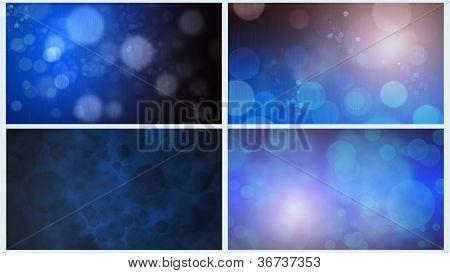 Four Blue Bokeh Backgrounds