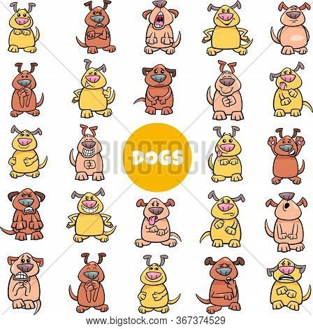 Cartoon Illustration Of Dog Characters Emotions And Moods Big Set