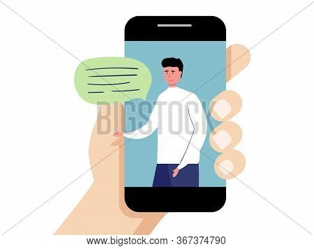 Customer And Operator, Online Technical Support 24-7 For Web Page. Vector Illustration Male Hotline