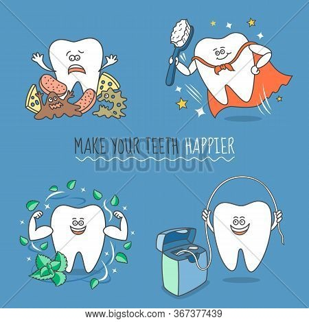Set Of Cartoon Teeth With Different Objects That Depict Cleaning Teeth. The Tooth With Debris, Floss