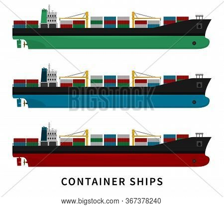 Black Green Blue Red Container Ship Isolated With Cranes And Goods On White Background. Cargo Import