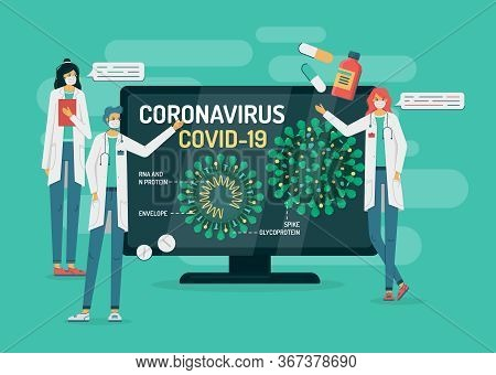 Flat Vector Illustration Of Doctors In Masks On Green Background Tell About Coronavirus Internal Str