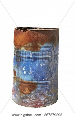 Old Rusty Metal Barrel Isolated Single Object On A White Background