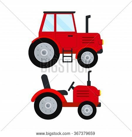 Red Farm Tractor Icon Set Isolatet On White Background. Red Small And Big Wheel Farmer Tractor. Flat