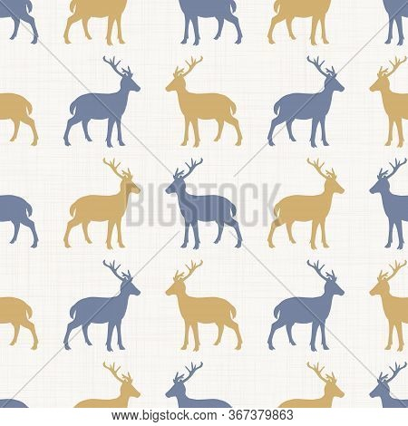 Seamless French Farmhouse Doe Stag Silhouette Pattern. Farmhouse Linen Shabby Chic Style. Hand Drawn