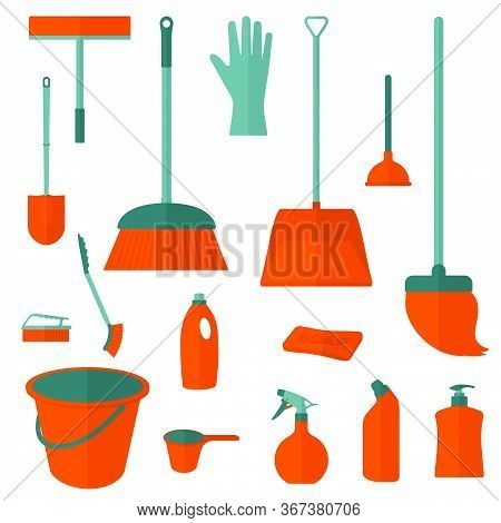 Set Object Of Cleanliness Vector Illustration. Perfect Template For Cleanliness Design.