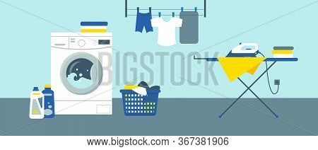 Washing Machine With Cleanser, Iron On Ironing Board And Clean Clothes. Laundry Service Room Vector