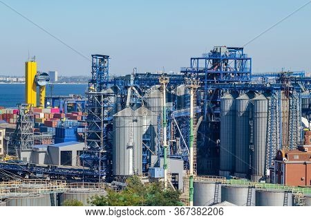 Granary With Containers For Storage And Loading Of Grain In The Seaport. Grain Transportation, Agrib
