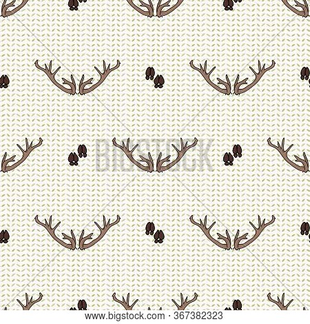 Cute Deer Antler Seamless Pattern. Hoof Print Flat Color Background. Hand Drawn Forest Animal Horn D