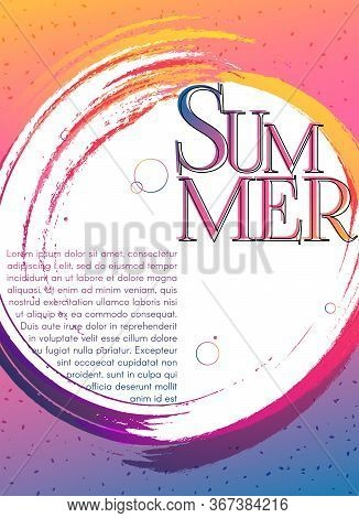 Banner Poster Summer On A Bright Gradient Background Modern Youth Concept For Advertising Music Part