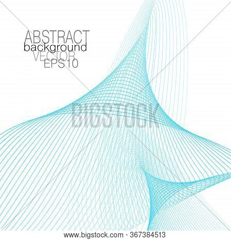 Blue Line Art Techno Background. Creative Vortex Pattern. Industrial Design Concept. Vector Subtle C