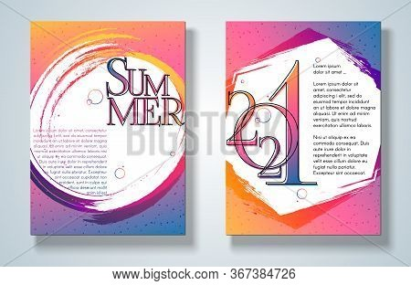 Banner Poster Summer 2021 On A Bright Gradient Background Set Modern Youth Concept Ads 2021 New Year