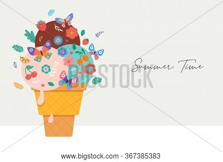 Summer Scene With Ice Cream Cone, Sundae With Flowers, Fruits And Butterflies