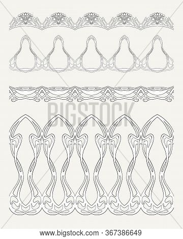 Set Of Seamless Borders In Art Nouveau Style, Vintage, Old, Retro Style. Outline Vector Illustration