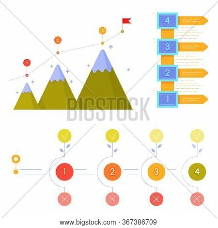 Business Milestones Timeline Workflow Vector Infographics. Template - Pointers On Curved Road Line.