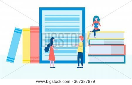 Online Library, E-books, Digital Book Store, E-reading, Online Learning, Education Concept. People G