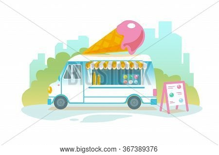 Blue Ice Cream Truck In Retro Style On Cityscape. Popsicle Wheeled Cafe Banner Design. Ice Car Carto