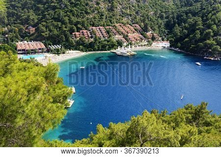 Yachts At The Pier And Beach On Mediterranean Turkish Resort, Fethiye, Turkey
