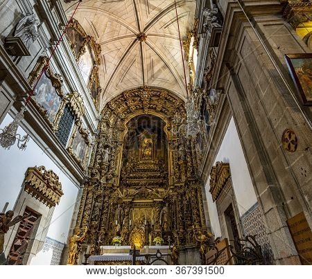 Arouca, Portugal - September 08, 2019: View Of The Gilded Altarpiece Church Of The Monastery Of Sain