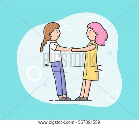 Concept Of Friendship And Back To School. Stylish Smiling Girls Or Teenagers Are Playing Together. T