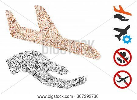 Line Mosaic Aviation Support Hand Icon Organized From Straight Items In Various Sizes And Color Hues