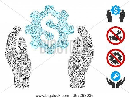 Linear Collage Banking Maintenance Hands Icon Designed From Thin Items In Variable Sizes And Color H