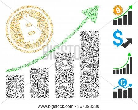 Hatch Collage Bitcoin Growth Trend Icon Composed Of Thin Items In Variable Sizes And Color Hues. Irr