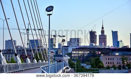 Warsaw, Poland. 21 May 2020. View Downtown Business Skyscrapers, City Center.