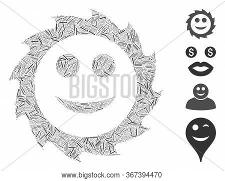 Hatch Collage Circular Blade Smile Icon United From Straight Elements In Random Sizes And Color Hues