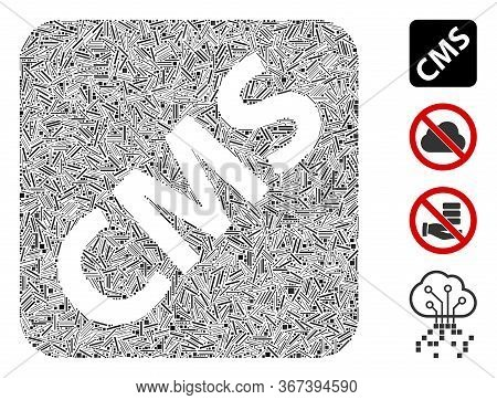 Line Collage Cms Icon Constructed From Straight Items In Various Sizes And Color Hues. Line Parts Ar