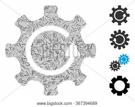 Line Collage Cog Rotation Direction Icon Designed From Thin Items In Various Sizes And Color Hues. L