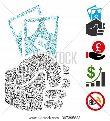 Hatch Collage Dollar Banknotes Salary Icon United From Narrow Items In Various Sizes And Color Hues.