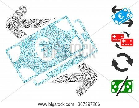 Line Collage Euro Banknotes Payments Icon Organized From Thin Items In Variable Sizes And Color Hues