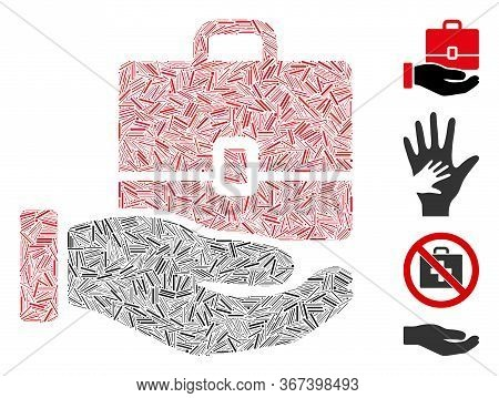 Line Collage Hand Holding Case Icon United From Narrow Items In Various Sizes And Color Hues. Lines