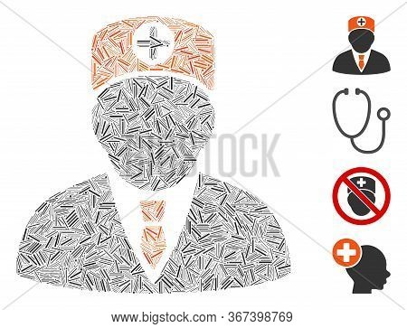 Hatch Mosaic Head Physician Icon United From Narrow Elements In Different Sizes And Color Hues. Irre