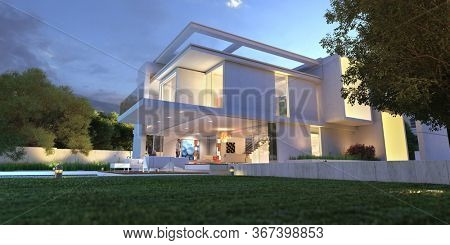 3D rendering of an upscale modern  mansion with pool