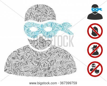 Line Collage Masked Thief Icon Composed Of Narrow Items In Various Sizes And Color Hues. Line Parts