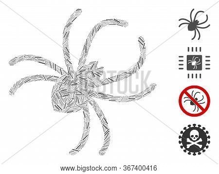 Hatch Mosaic Parasite Spider Icon Designed From Narrow Items In Different Sizes And Color Hues. Irre