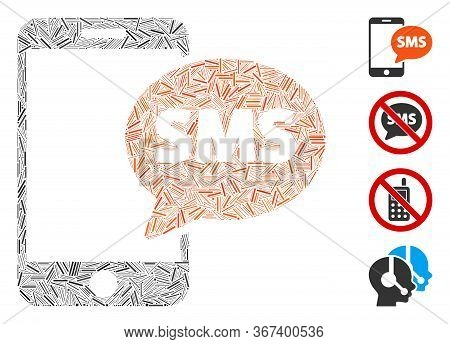 Linear Mosaic Phone Sms Icon Composed Of Straight Items In Random Sizes And Color Hues. Line Items A