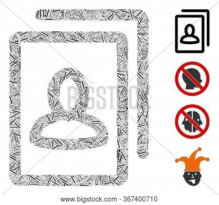 Line Mosaic Portrait Gallery Icon Composed Of Thin Items In Various Sizes And Color Hues. Lines Item