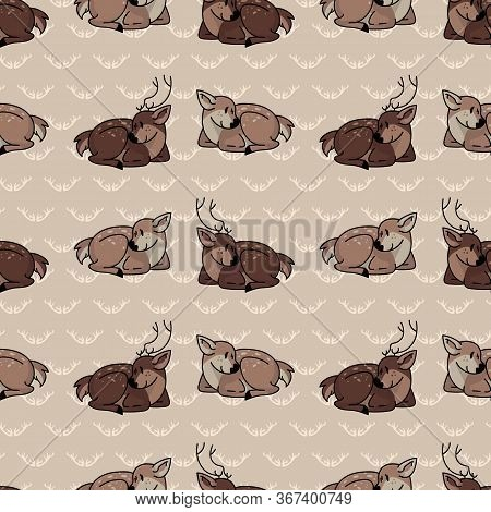 Cute Cartoon Stag And Doe Seamless Pattern. Cute Doe Animal Flat Color Background. Childish Hand Dra